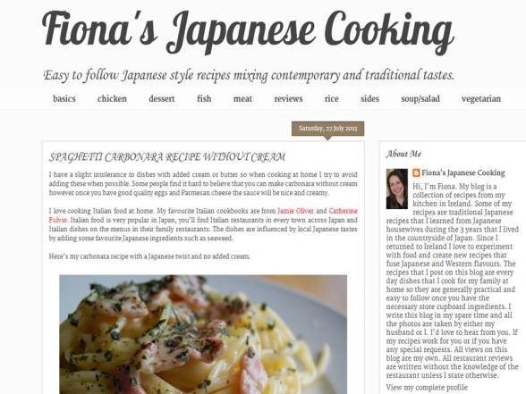 Fiona's Japanese cooking